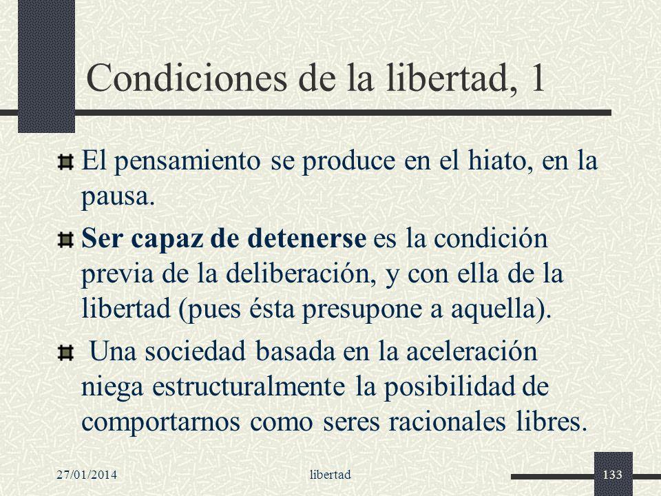 27/01/2014libertad133 Condiciones de la libertad, 1 El pensamiento se produce en el hiato, en la pausa. Ser capaz de detenerse es la condición previa