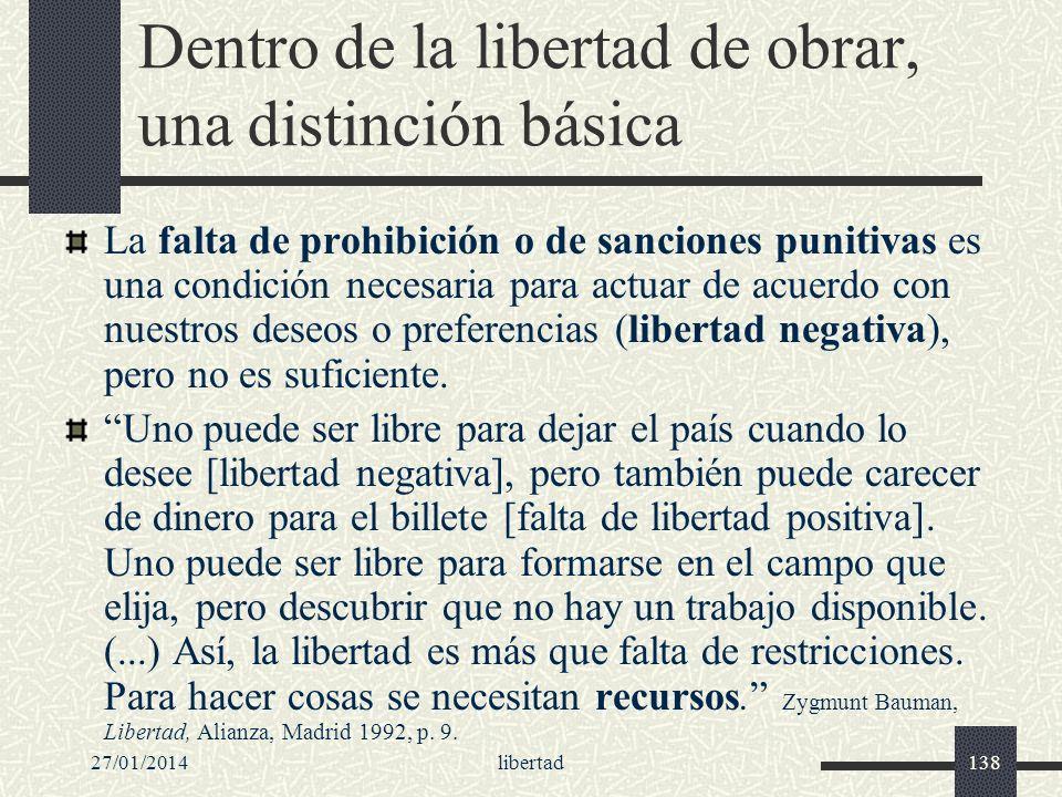 27/01/2014libertad138 Dentro de la libertad de obrar, una distinción básica La falta de prohibición o de sanciones punitivas es una condición necesari