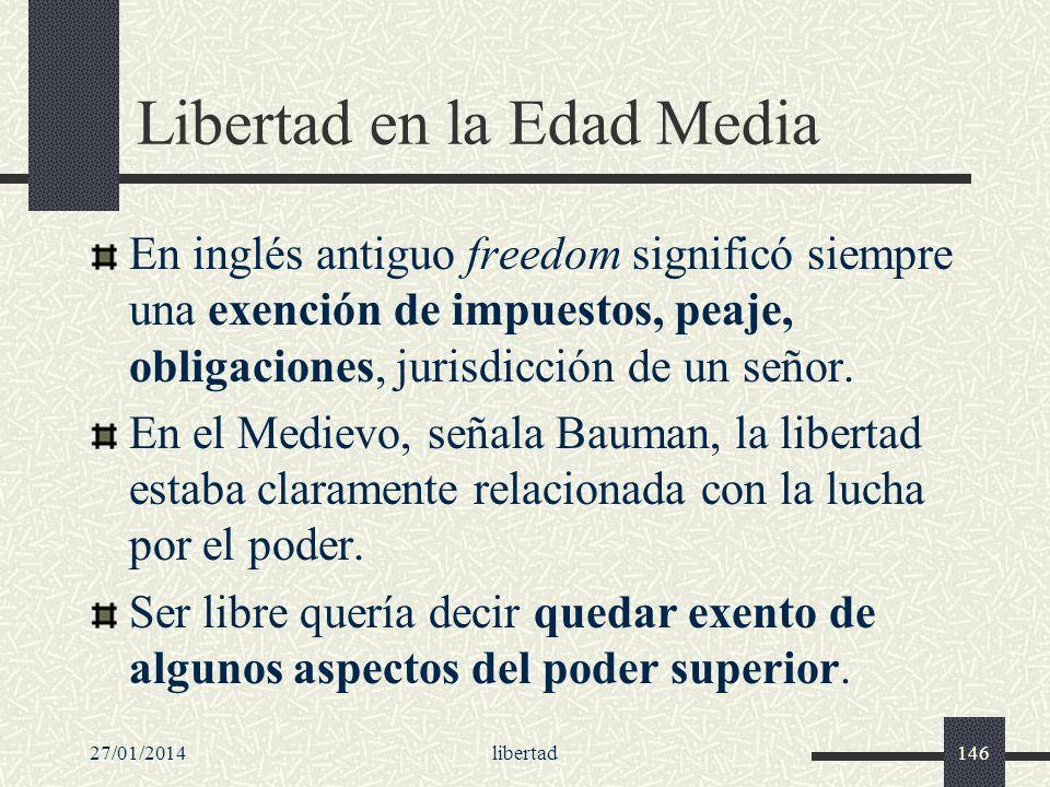 27/01/2014libertad146 Libertad en la Edad Media En inglés antiguo freedom significó siempre una exención de impuestos, peaje, obligaciones, jurisdicci