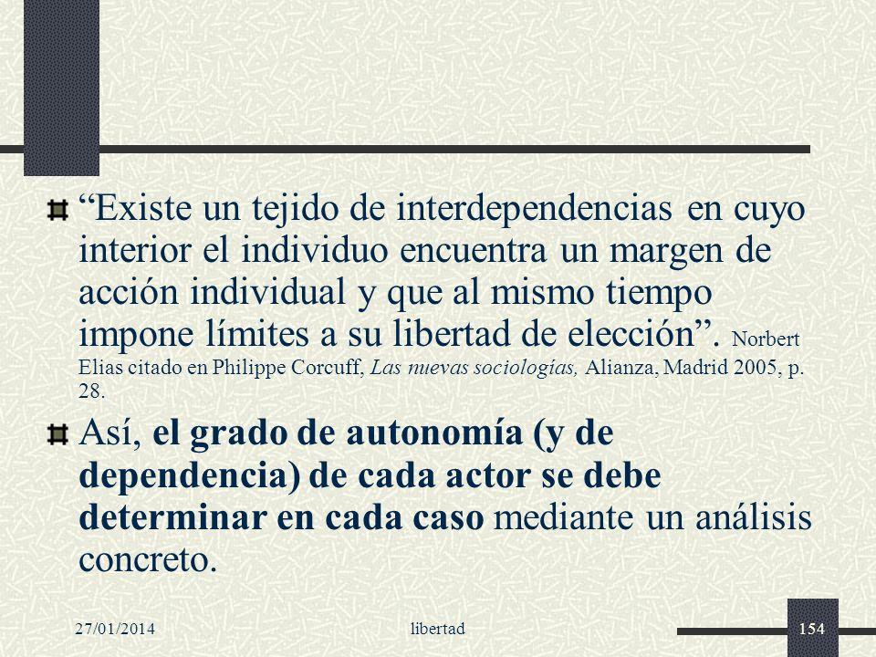 27/01/2014libertad154 Existe un tejido de interdependencias en cuyo interior el individuo encuentra un margen de acción individual y que al mismo tiem