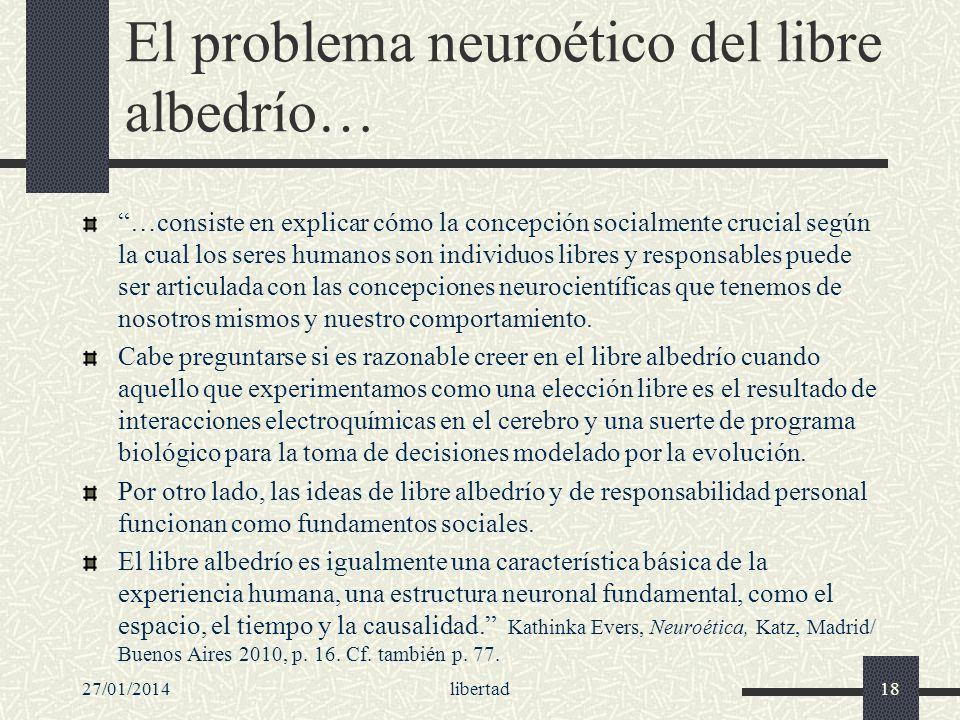 El problema neuroético del libre albedrío… …consiste en explicar cómo la concepción socialmente crucial según la cual los seres humanos son individuos