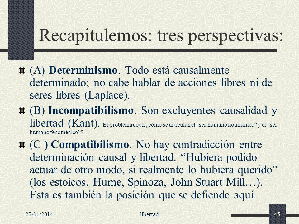 27/01/2014libertad45 Recapitulemos: tres perspectivas: (A) Determinismo. Todo está causalmente determinado; no cabe hablar de acciones libres ni de se