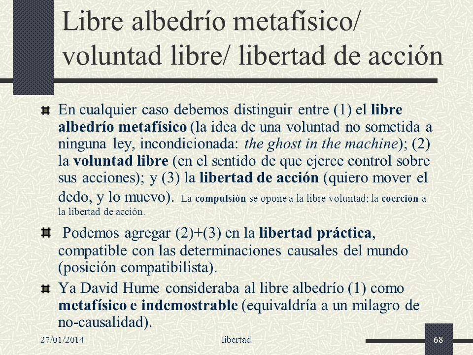 27/01/2014libertad68 Libre albedrío metafísico/ voluntad libre/ libertad de acción En cualquier caso debemos distinguir entre (1) el libre albedrío me
