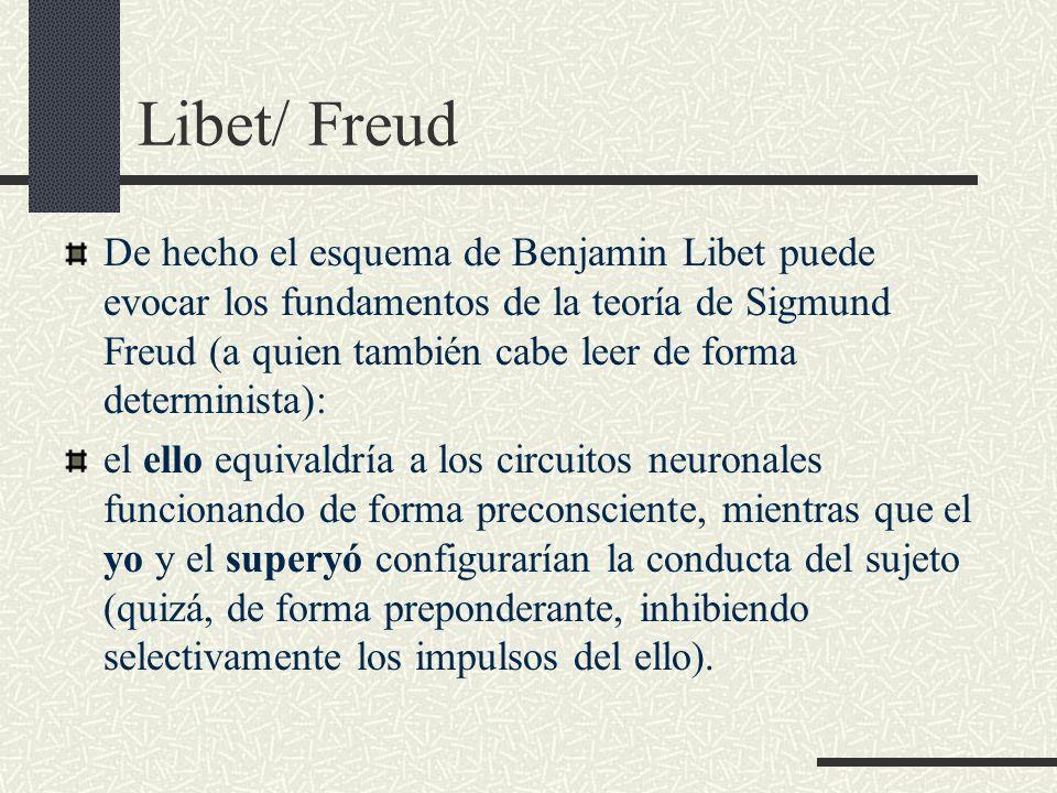 Libet/ Freud De hecho el esquema de Benjamin Libet puede evocar los fundamentos de la teoría de Sigmund Freud (a quien también cabe leer de forma dete