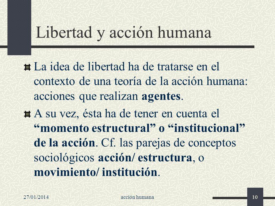 27/01/2014acción humana10 Libertad y acción humana La idea de libertad ha de tratarse en el contexto de una teoría de la acción humana: acciones que r