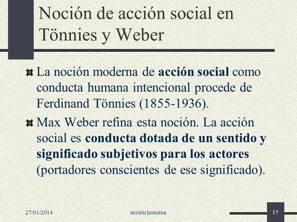 27/01/2014acción humana17 Noción de acción social en Tönnies y Weber La noción moderna de acción social como conducta humana intencional procede de Fe