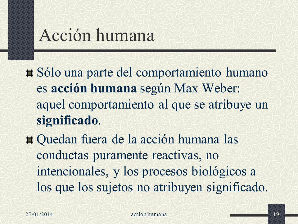 27/01/2014acción humana19 Acción humana Sólo una parte del comportamiento humano es acción humana según Max Weber: aquel comportamiento al que se atri