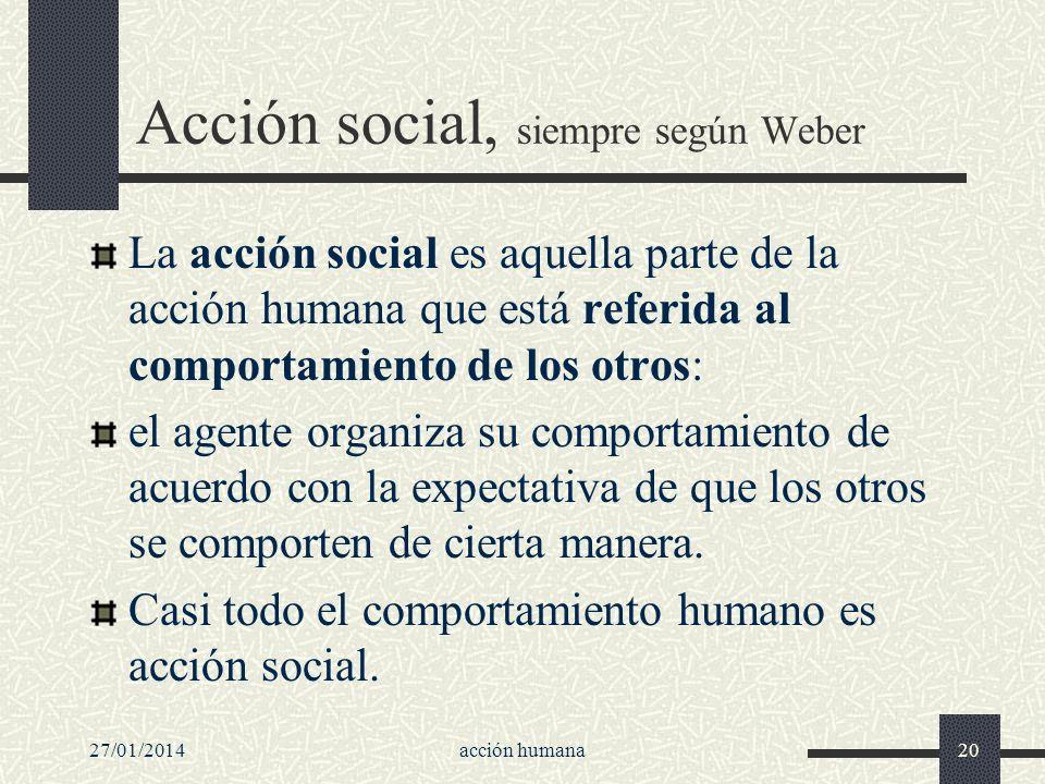 27/01/2014acción humana20 Acción social, siempre según Weber La acción social es aquella parte de la acción humana que está referida al comportamiento