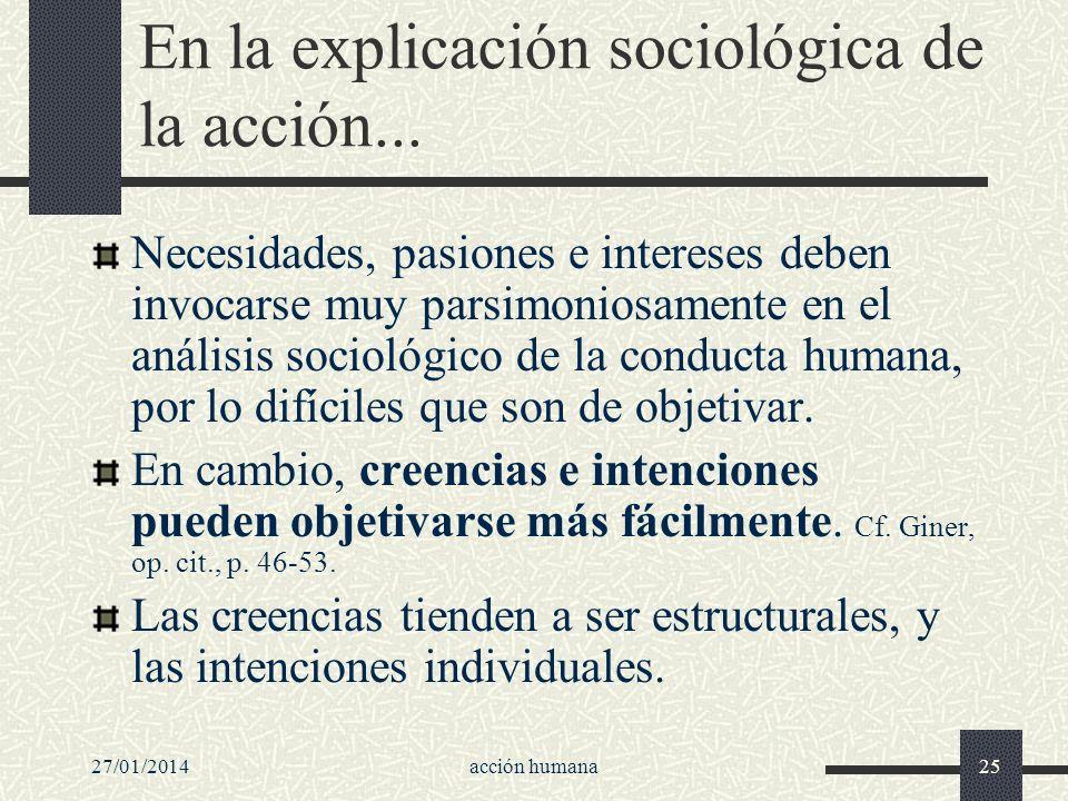 27/01/2014acción humana25 En la explicación sociológica de la acción... Necesidades, pasiones e intereses deben invocarse muy parsimoniosamente en el
