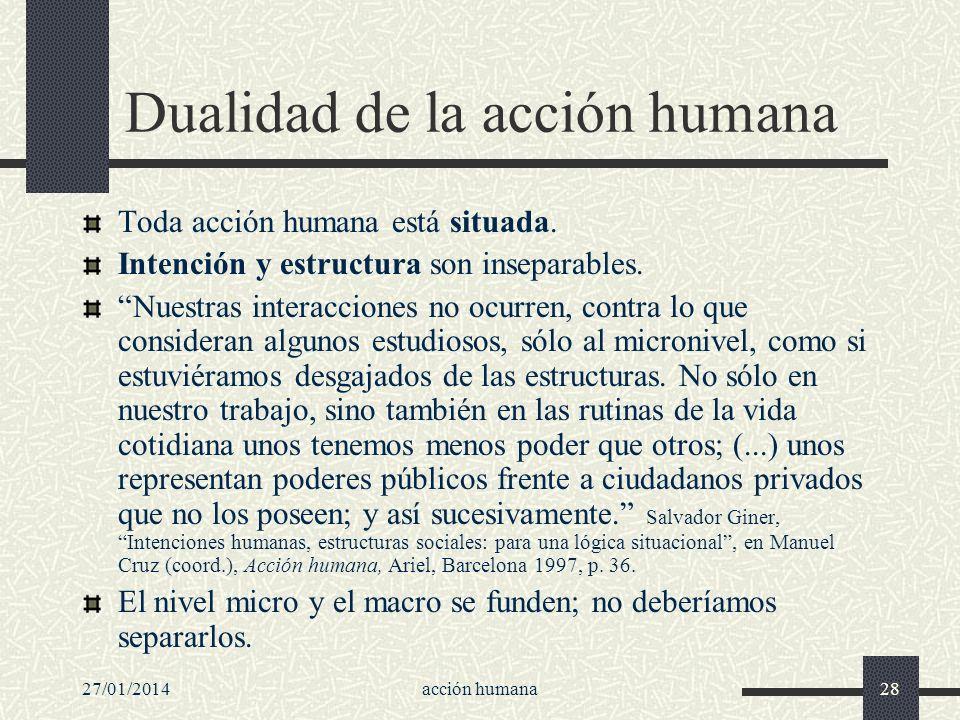 27/01/2014acción humana28 Dualidad de la acción humana Toda acción humana está situada. Intención y estructura son inseparables. Nuestras interaccione