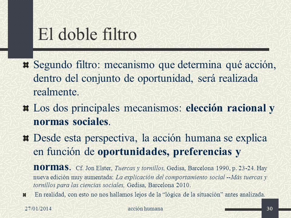 27/01/2014acción humana30 El doble filtro Segundo filtro: mecanismo que determina qué acción, dentro del conjunto de oportunidad, será realizada realm