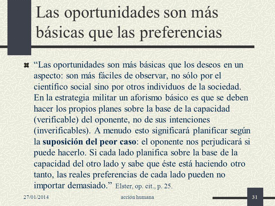 27/01/2014acción humana31 Las oportunidades son más básicas que las preferencias Las oportunidades son más básicas que los deseos en un aspecto: son m
