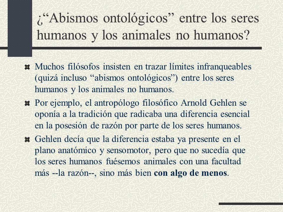 ¿Abismos ontológicos entre los seres humanos y los animales no humanos? Muchos filósofos insisten en trazar límites infranqueables (quizá incluso abis