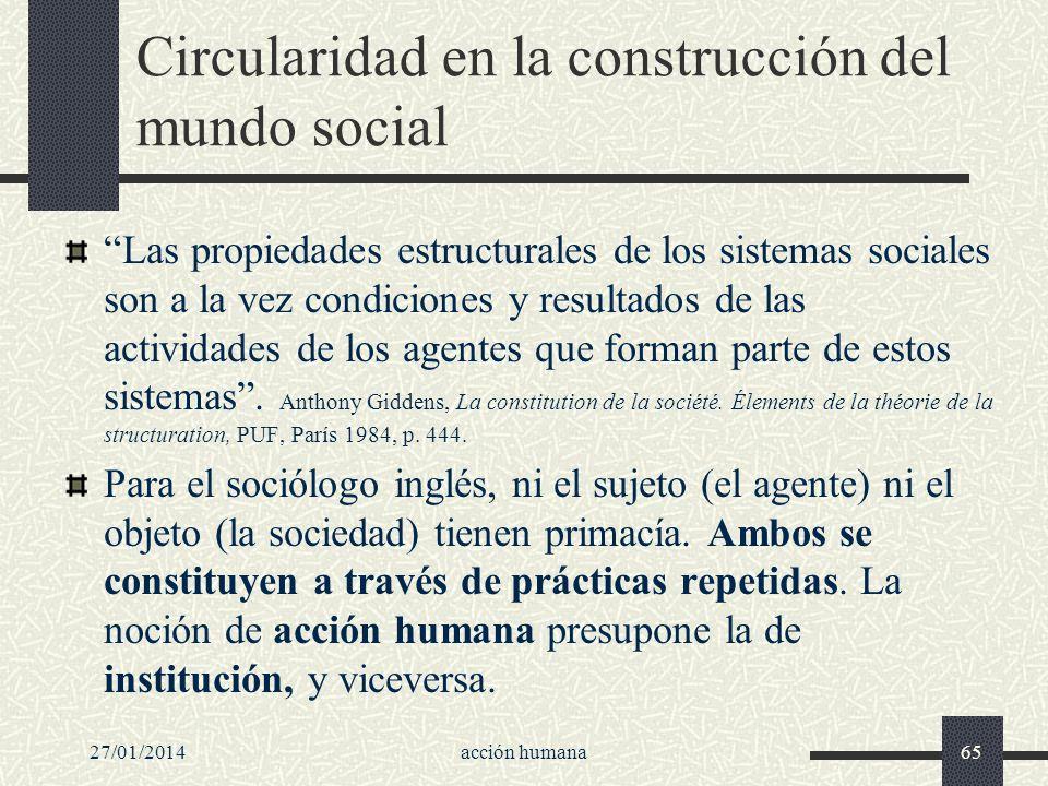 27/01/2014acción humana65 Circularidad en la construcción del mundo social Las propiedades estructurales de los sistemas sociales son a la vez condici