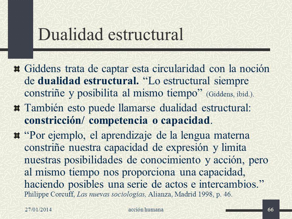 27/01/2014acción humana66 Dualidad estructural Giddens trata de captar esta circularidad con la noción de dualidad estructural. Lo estructural siempre