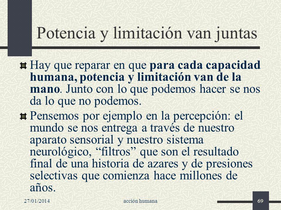 27/01/2014acción humana69 Potencia y limitación van juntas Hay que reparar en que para cada capacidad humana, potencia y limitación van de la mano. Ju
