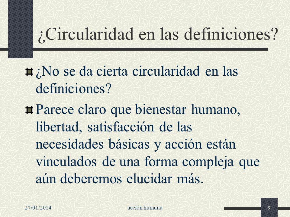 27/01/2014acción humana9 ¿Circularidad en las definiciones? ¿No se da cierta circularidad en las definiciones? Parece claro que bienestar humano, libe