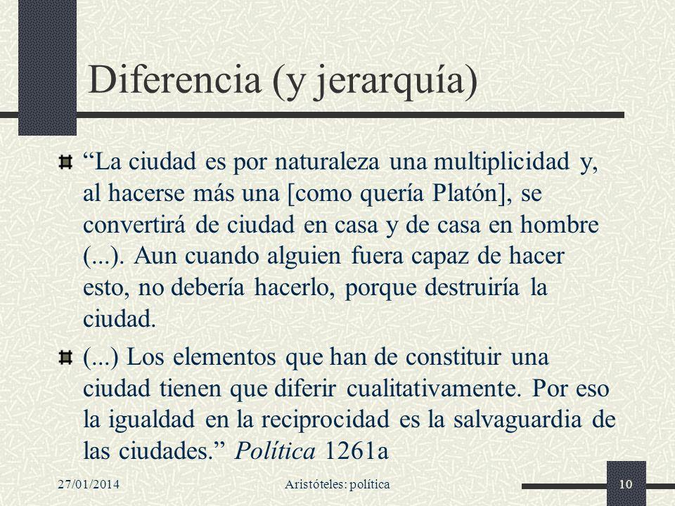 27/01/2014Aristóteles: política10 Diferencia (y jerarquía) La ciudad es por naturaleza una multiplicidad y, al hacerse más una [como quería Platón], s