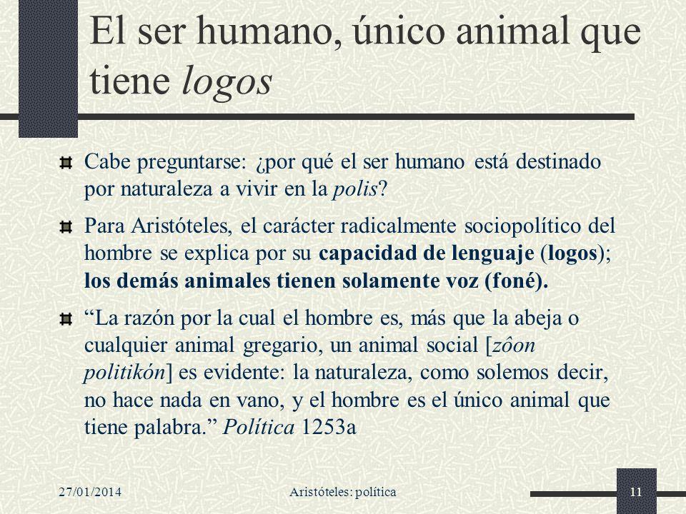 27/01/2014Aristóteles: política11 El ser humano, único animal que tiene logos Cabe preguntarse: ¿por qué el ser humano está destinado por naturaleza a