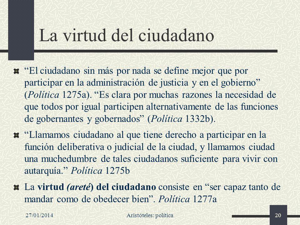 27/01/2014Aristóteles: política20 La virtud del ciudadano El ciudadano sin más por nada se define mejor que por participar en la administración de jus