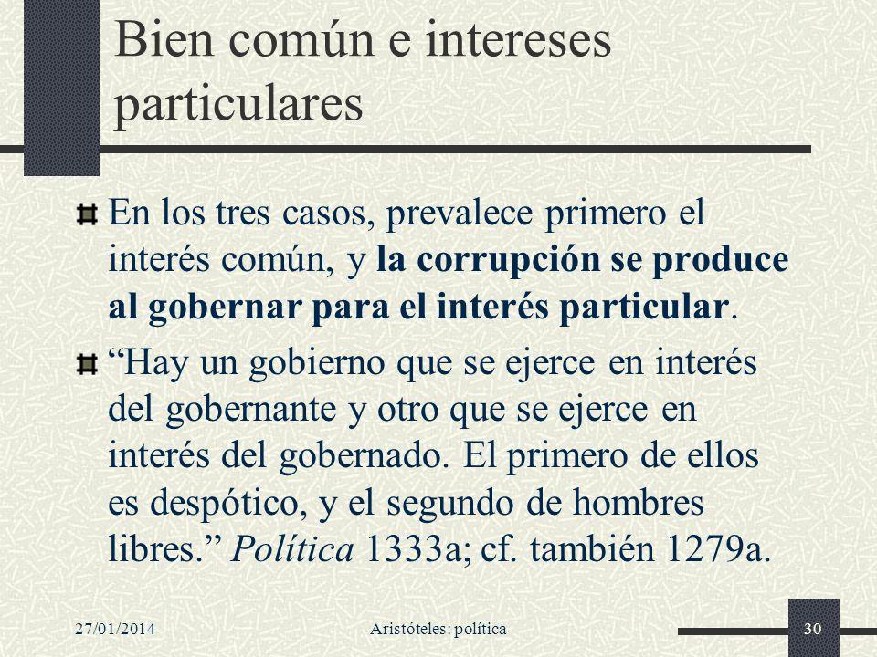 27/01/2014Aristóteles: política30 Bien común e intereses particulares En los tres casos, prevalece primero el interés común, y la corrupción se produc