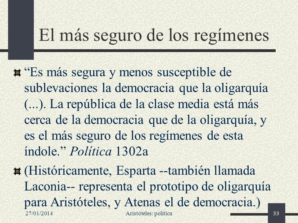 27/01/2014Aristóteles: política33 El más seguro de los regímenes Es más segura y menos susceptible de sublevaciones la democracia que la oligarquía (.