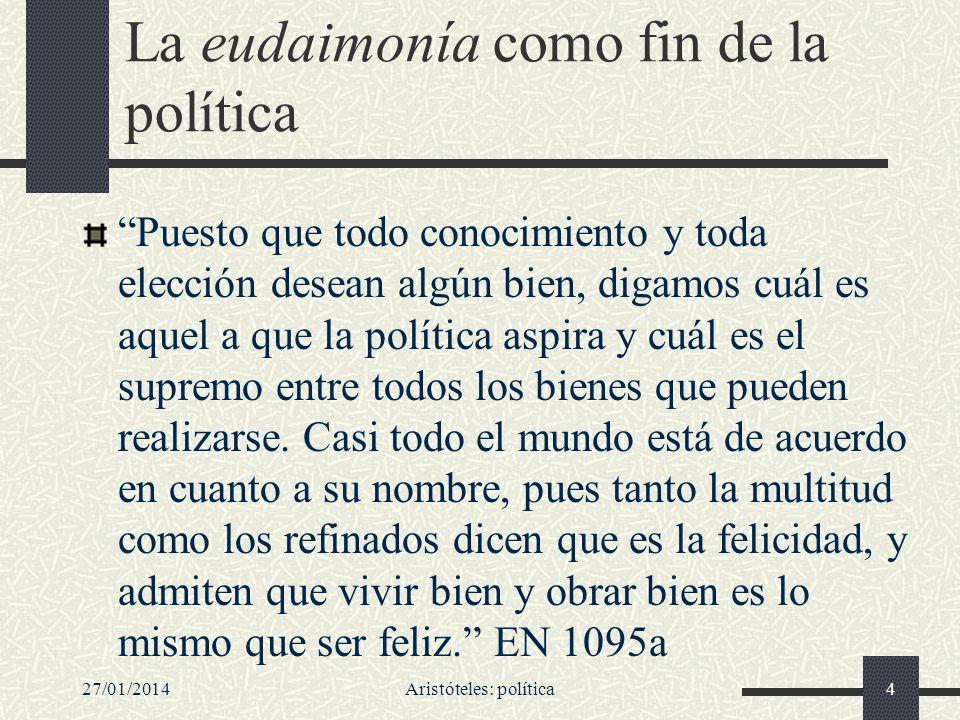 27/01/2014Aristóteles: política25 No buscar lo óptimo, sino lo suficientemente bueno La mayoría de los que han tratado de política, aunque acierten en lo demás, fallan en lo práctico.