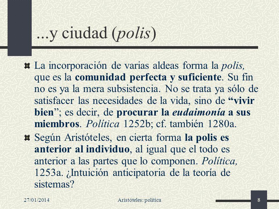 27/01/2014Aristóteles: política8...y ciudad (polis) La incorporación de varias aldeas forma la polis, que es la comunidad perfecta y suficiente. Su fi