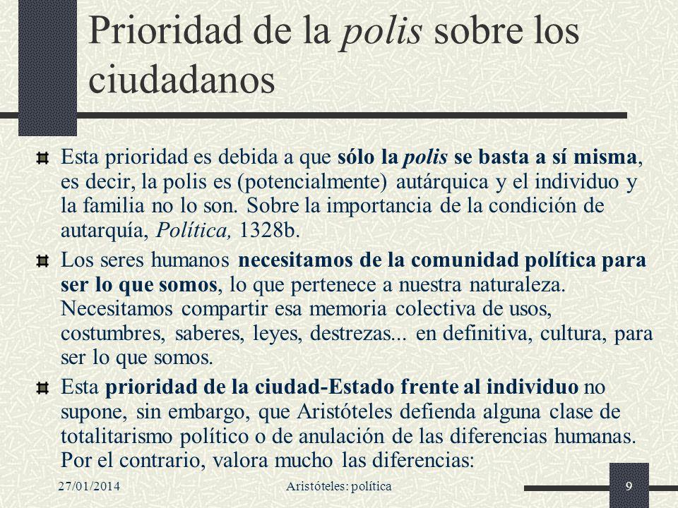 27/01/2014Aristóteles: política9 Prioridad de la polis sobre los ciudadanos Esta prioridad es debida a que sólo la polis se basta a sí misma, es decir