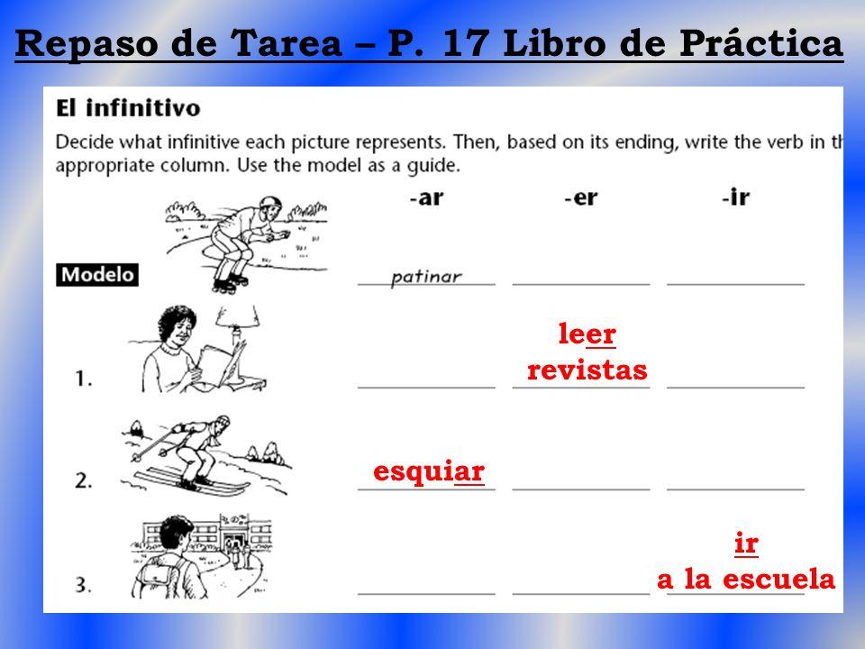 Repaso de Tarea – P. 17 Libro de Práctica leer revistas esquiar ir a la escuela