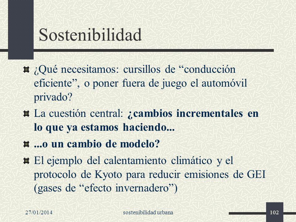 27/01/2014sostenibilidad urbana102 Sostenibilidad ¿Qué necesitamos: cursillos de conducción eficiente, o poner fuera de juego el automóvil privado? La