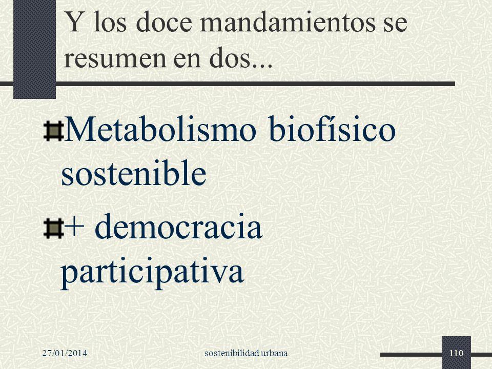 27/01/2014sostenibilidad urbana110 Y los doce mandamientos se resumen en dos... Metabolismo biofísico sostenible + democracia participativa