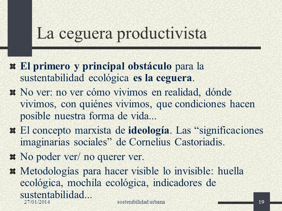 27/01/2014sostenibilidad urbana19 La ceguera productivista El primero y principal obstáculo para la sustentabilidad ecológica es la ceguera. No ver: n