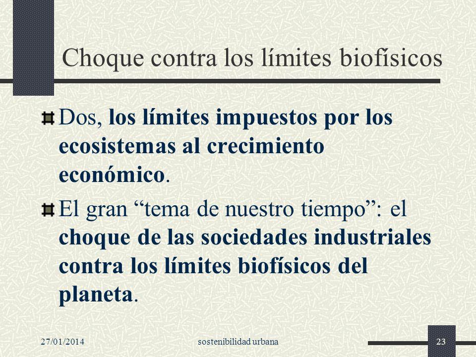 27/01/2014sostenibilidad urbana23 Choque contra los límites biofísicos Dos, los límites impuestos por los ecosistemas al crecimiento económico. El gra