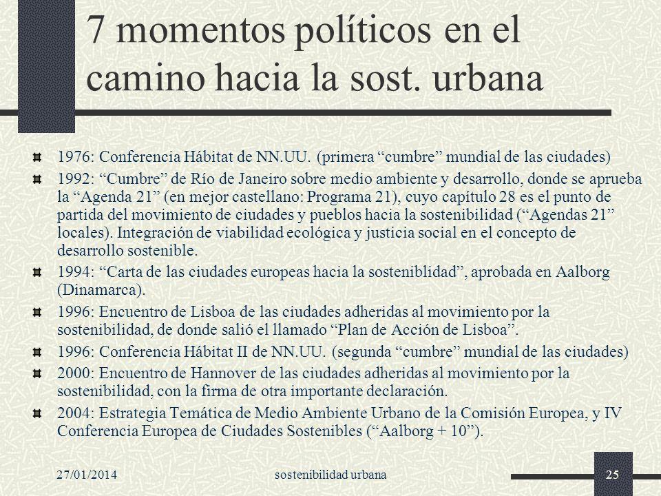 27/01/2014sostenibilidad urbana25 7 momentos políticos en el camino hacia la sost. urbana 1976: Conferencia Hábitat de NN.UU. (primera cumbre mundial