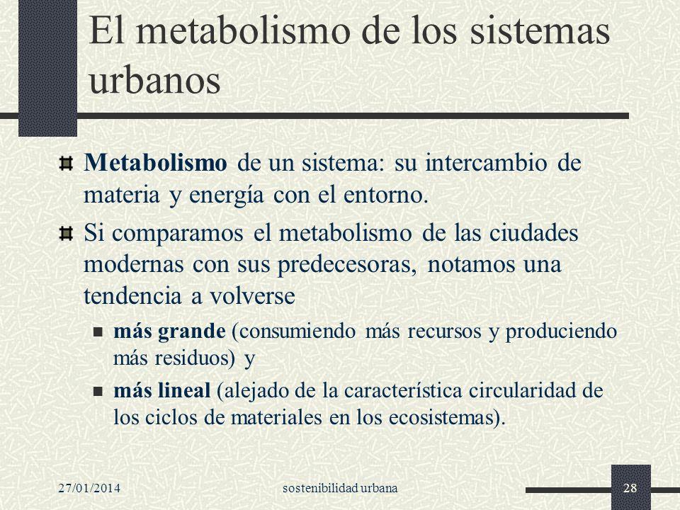 27/01/2014sostenibilidad urbana28 El metabolismo de los sistemas urbanos Metabolismo de un sistema: su intercambio de materia y energía con el entorno