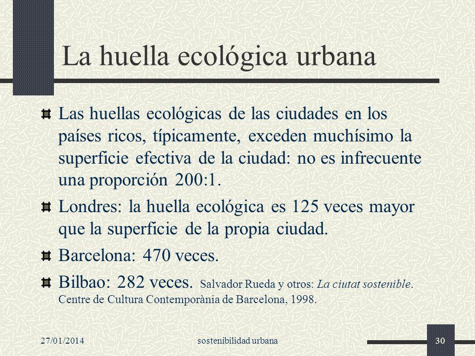 27/01/2014sostenibilidad urbana30 La huella ecológica urbana Las huellas ecológicas de las ciudades en los países ricos, típicamente, exceden muchísim