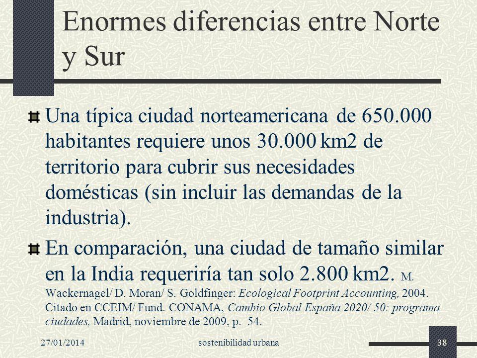 Enormes diferencias entre Norte y Sur Una típica ciudad norteamericana de 650.000 habitantes requiere unos 30.000 km2 de territorio para cubrir sus ne