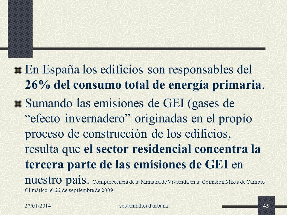 En España los edificios son responsables del 26% del consumo total de energía primaria. Sumando las emisiones de GEI (gases de efecto invernadero orig