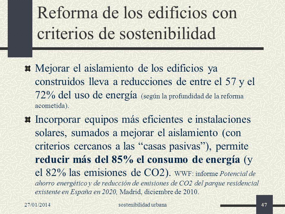 Reforma de los edificios con criterios de sostenibilidad Mejorar el aislamiento de los edificios ya construidos lleva a reducciones de entre el 57 y e