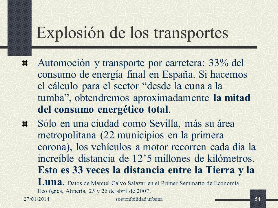 27/01/2014sostenibilidad urbana54 Explosión de los transportes Automoción y transporte por carretera: 33% del consumo de energía final en España. Si h