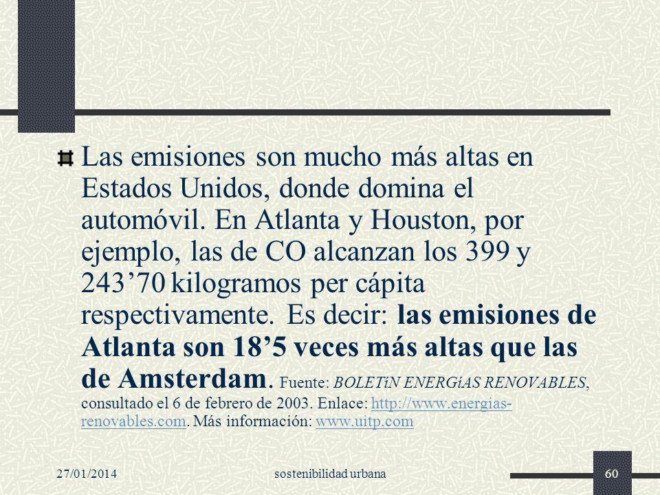 27/01/2014sostenibilidad urbana60 Las emisiones son mucho más altas en Estados Unidos, donde domina el automóvil. En Atlanta y Houston, por ejemplo, l