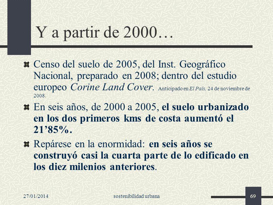 27/01/2014sostenibilidad urbana69 Y a partir de 2000… Censo del suelo de 2005, del Inst. Geográfico Nacional, preparado en 2008; dentro del estudio eu