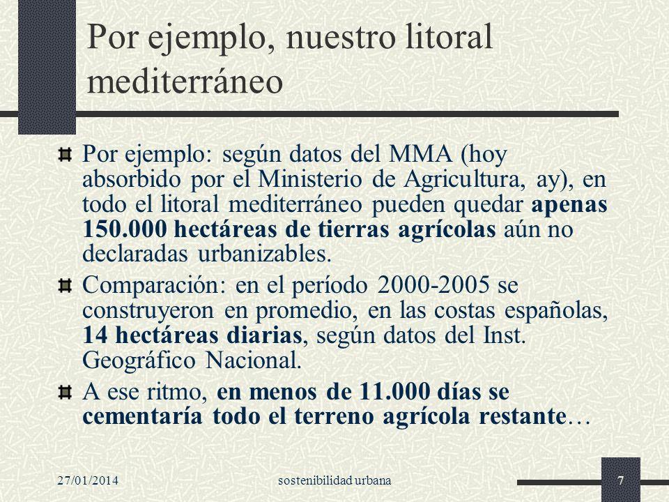 27/01/2014sostenibilidad urbana7 Por ejemplo, nuestro litoral mediterráneo Por ejemplo: según datos del MMA (hoy absorbido por el Ministerio de Agricu