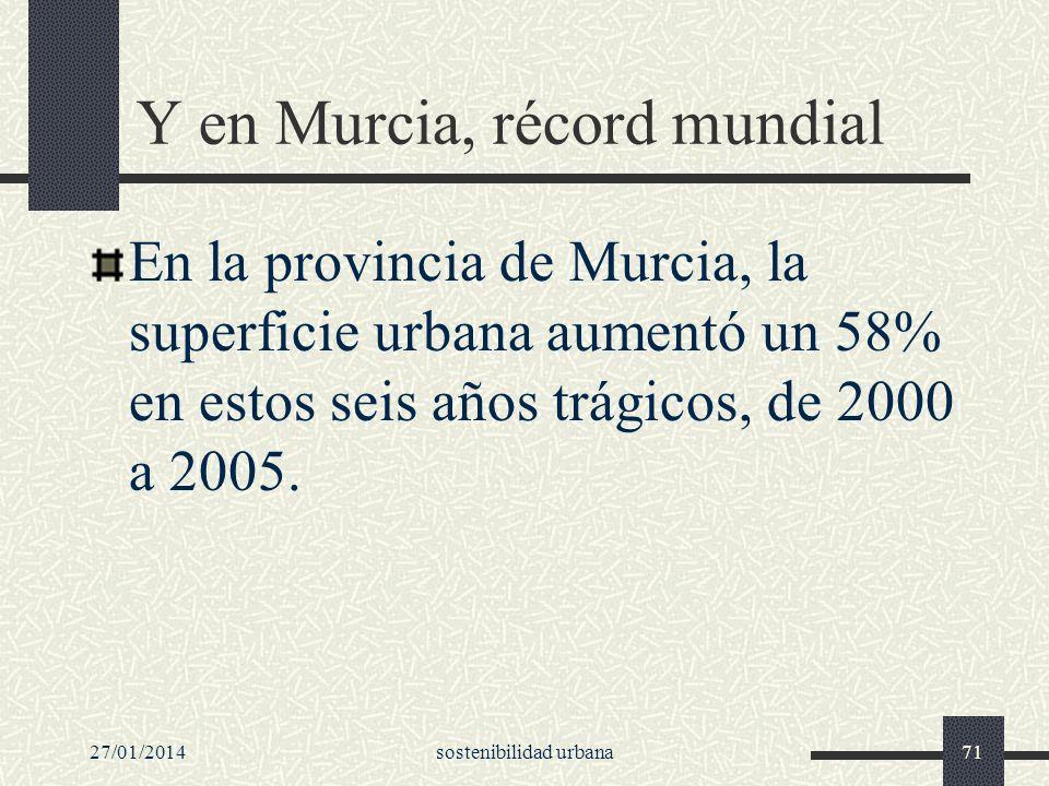 27/01/2014sostenibilidad urbana71 Y en Murcia, récord mundial En la provincia de Murcia, la superficie urbana aumentó un 58% en estos seis años trágic
