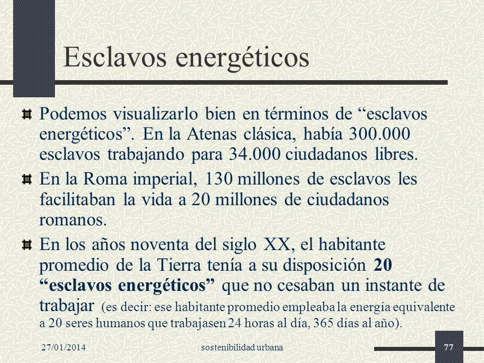 27/01/2014sostenibilidad urbana77 Esclavos energéticos Podemos visualizarlo bien en términos de esclavos energéticos. En la Atenas clásica, había 300.