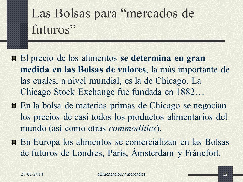 27/01/2014alimentación y mercados12 Las Bolsas para mercados de futuros El precio de los alimentos se determina en gran medida en las Bolsas de valore