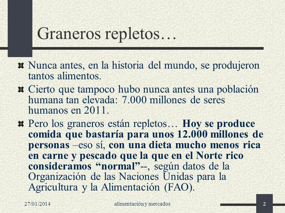 27/01/2014Alimentar...13 Especulación con los alimentos Hoy en día, la inmensa mayoría de las operaciones de compra y venta de estas mercancías no corresponde a intercambios comerciales reales.