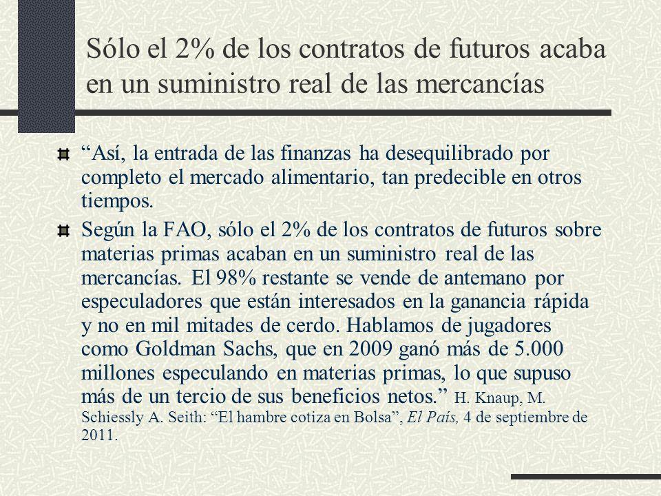 Sólo el 2% de los contratos de futuros acaba en un suministro real de las mercancías Así, la entrada de las finanzas ha desequilibrado por completo el
