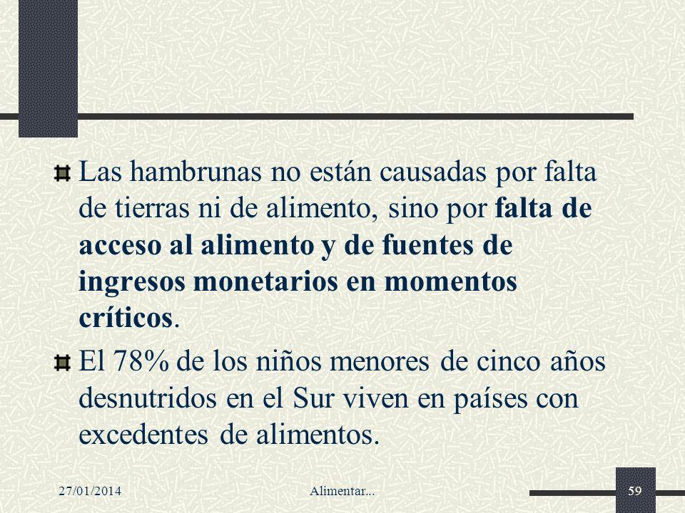 27/01/2014Alimentar...59 Las hambrunas no están causadas por falta de tierras ni de alimento, sino por falta de acceso al alimento y de fuentes de ing
